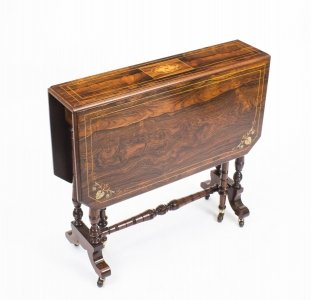 Antique Edwardian Inlaid Rosewood Sutherland Table C1900