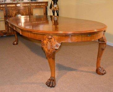 Antique Bur Walnut Queen Anne Style Dining Table C1920