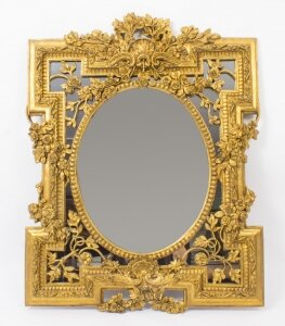 Fantastic Decorative Ornate Italian Gilded Mirror 90 x 71 cm
