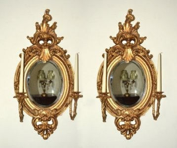 Stunning Pair Ornate Oval Italian Gilded Mirrors 79 x 40 cm