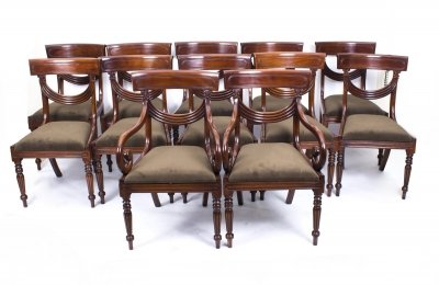 Superb Regency Style Dining Chairs Swag Back Set of 12