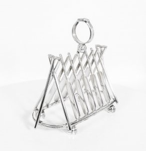 Silver Plated Toast Rack Crossed Cricket Bats