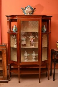 english antique display cabinet. Antique English Edwardian Inlaid Display Cabinet Sold 7