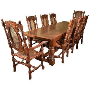 Solid Oak Refectory Dining Table &amp 8 Carolean Chairs