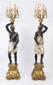 Pair Blackamoor Wired Candelabra Hand Painted &amp Gilded