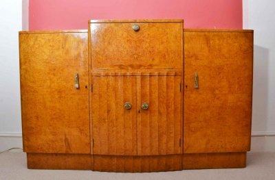 Antique Art Deco 1920 Birdseye Maple Drinks Bar Cabinet ...