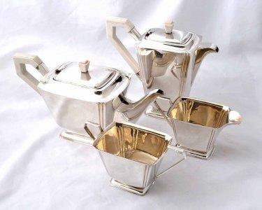 Antique English Art Deco Silver Plate 4 x Tea Set & Antique English Art Deco Silver Plate 4 x Tea Set | Ref. no. 04154