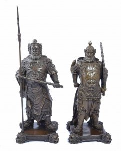 Pair Bronze Chinese Warriors
