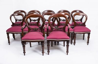 Set Of 12 Victorian Style Balloon Back Dining Chairs | Victorian Dining Chairs | Ref. no. 04231c