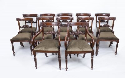 Set 12 Regency Style Mahogany Bar Back Dining Chairs