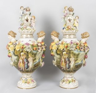 Pair Large Dresden Style Hand Painted Porcelain Vases