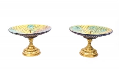 Pair of Cut Glass &amp Gilded Bronze Centrepiece Bowls