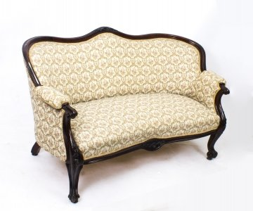 Antique Victorian Mahogany Two Seater Settee Sofa