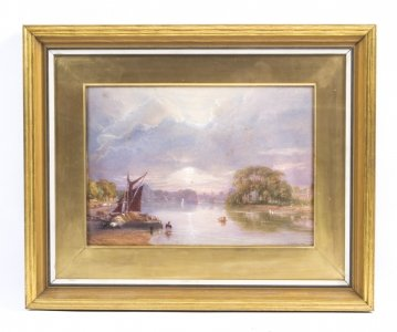Antique Watercolour Thames at Twickenham J C Bourne