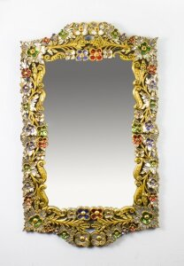 Striking Gilded Mirror Bordered with Precious Stones 112 x 70 cm