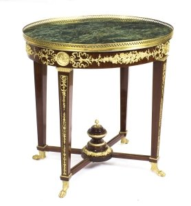 French Empire Revival &quot Verde Antico&quot Green Marble Top Occasional Centre Table
