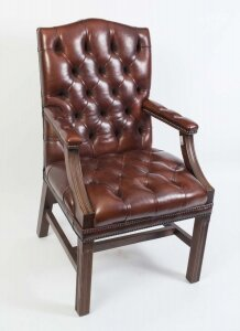Bespoke English Handmade Gainsborough Leather Desk Chair | Ref. no. 05144 | Regent Antiques