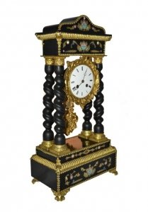 Antique French Gilt Bronze Boulle Portico Clock