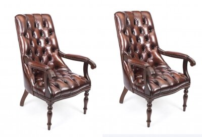 Bespoke Pair English Handmade Carlton Leather Desk Chairs BBO | Ref. no. 05380aBBO | Regent Antiques