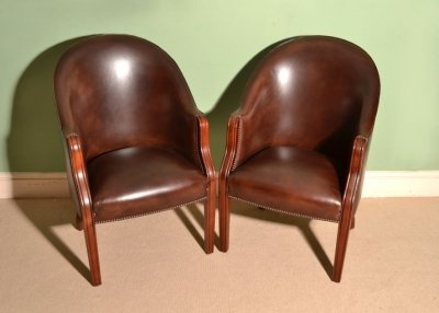 Pair English Handmade Leather Desk Chairs Tobacco