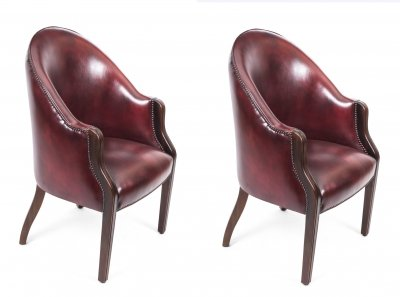 Pair English Handmade Leather Desk Chairs Ox Blood