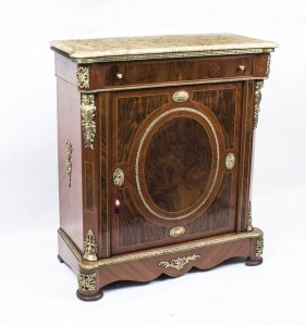 Victorian Style Burr Walnut Pier Cabinet Marble Top