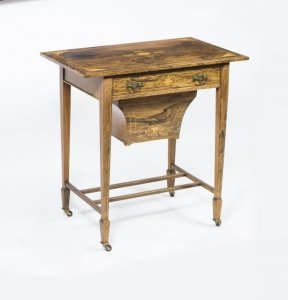 Antique Edwardian Inlaid Rosewood Workbox Table