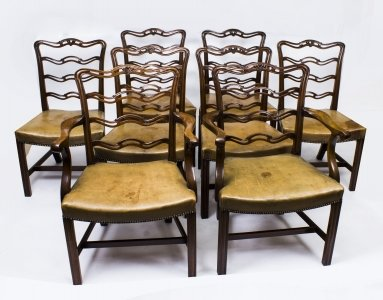 Set 8 Vintage Chippendale Ladderback Dining Chairs from Harrods