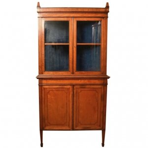 Antique English Edwardian Satinwood Corner Cabinet