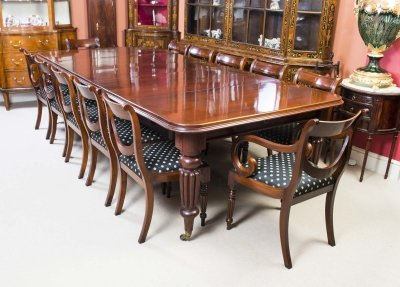 Antique Victorian Dining Table & 12 Chairs Sold - Antique Victorian Dining Table C.1850 & 12 Chairs Ref. No. 05571b