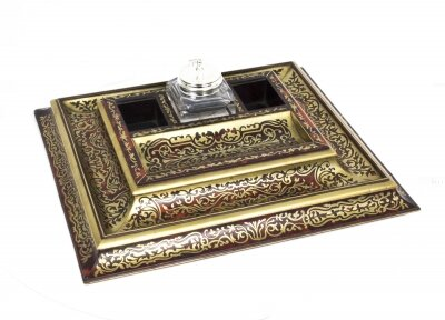 Antique French Boulle Cut Brass Tortoiseshell Inkstand