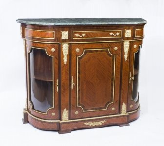Magnificent Victorian Style Walnut &amp Rosewood Credenza 20th C