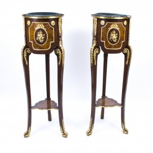 Pair of Louis XV Kingwood &amp Walnut Pedestals Stands