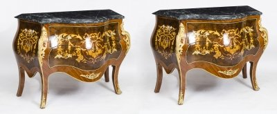 Pair Louis Revival Marble Topped Marquetry Commodes 20th C