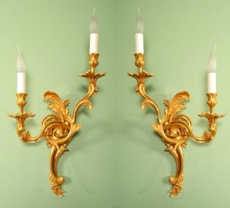 Vintage pair rococo gilded bronze wall lights ref no 05703 vintage pair rococo gilded bronze wall lights aloadofball Gallery