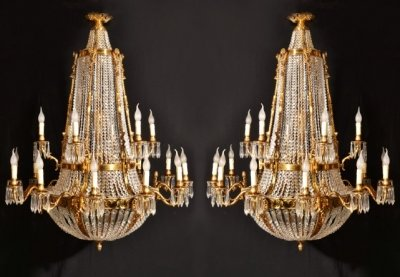 Pair of French Empire Ballroom 18 Light Chandeliers