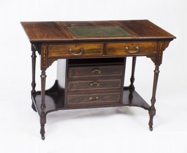 Antique Edwardian Inlaid Writing Table Desk