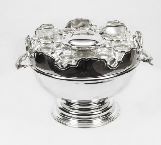 Silver Plated Monteith Caviar &amp Vodka Set Cooler