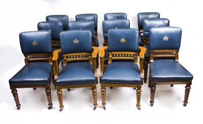 antique set of 12 scottish oak leather upholstered dining chairs circa