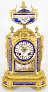 Antique French Ormolu Porcelain Mantel Clock
