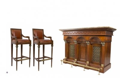 Flame Mahogany Cocktail Drinks Cabinet Dry Bar Pair Stools