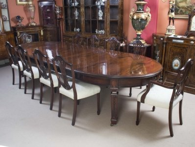 """Antique 12ft 6"""" Edwardian Dining Table 10 Chairs c.1900 ..."""