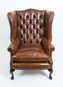 Leather Ball &amp Claw Wing Back Armchair Tan