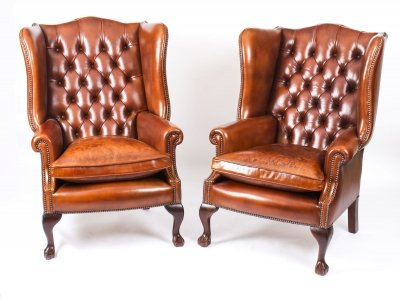 Bespoke Pair Leather Chippendale Wing Back Armchairs Burnt Amber | Ref. no. 06566e | Regent Antiques