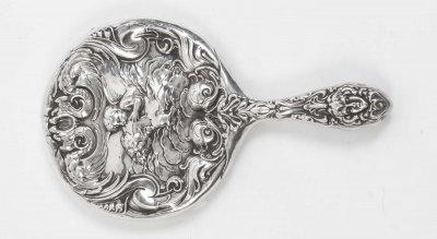 Antique Sterling Silver Cherubs Hand Mirror 1902 Ref no 06591