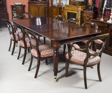 Antique Regency Mahogany Dining Table 8 Balloon Back Chairs