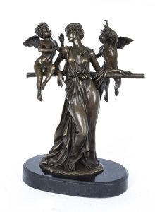 Stunning Bronze Sculpture Classical Lady Two Cherubs