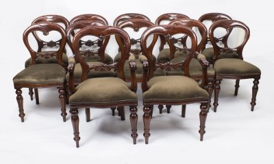Set 12 Victorian Style Balloon back Dining Chairs with Carved Shield