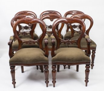 Set 8 Victorian Style Balloon Back Dining Chairs With Carved Shield