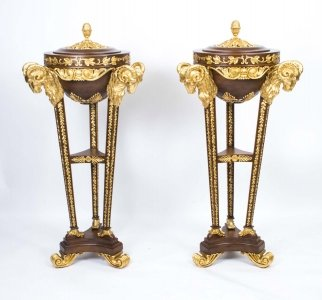 Pair Mahogany & Giltwood  Rams Head Pedestals in Adams Style | Ref. no. 06751 | Regent Antiques